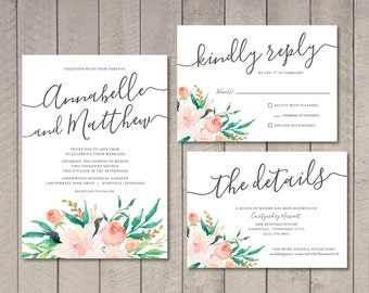 Blush Floral Wedding Invitation, RSVP, Details Card (Printable) by Vintage Sweet