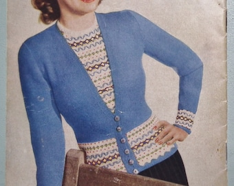 Twin Sets by Stitchcraft vintage 1940s knitting patterns book UK jumpers cardigans women's children's retro Fair Isle WW2 WWII style knits