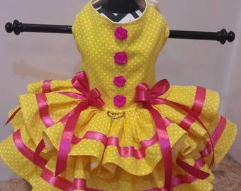 Dog Dress Yellow with white polkadots and hot pink trim