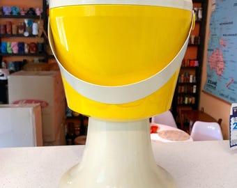 MOD Tall Ice Bucket on Pedestal YELLOW 1960's 60's Mid Century FABULOUS