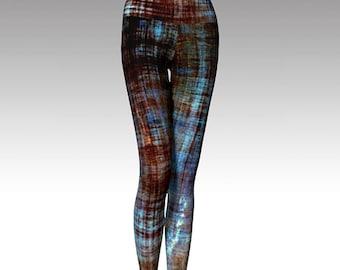 Blue and Brown Leggings, Distressed Look Leggings, Yoga Leggings, Printed Leggings, Boho, Women's Leggings, Gift for her
