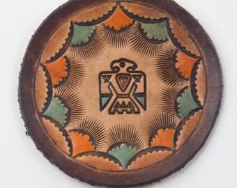 Handmade Genuine Leather Native American Thunderbird Coaster