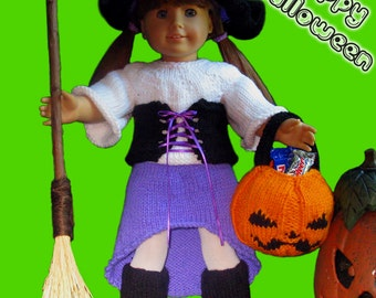 "Knitting Pattern for 18"" Doll Clothes Halloween Witch Costume Fits American Girl"