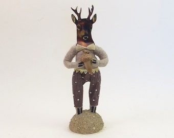 Vintage Inspired Spun Cotton Stag/Deer Boy Figure (MADE TO ORDER)