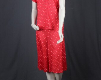 Red blouse culottes set polka dot fifties sixties vintage size S Small