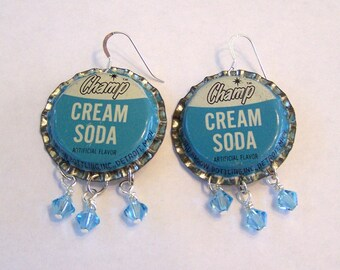 Earrings Vintage Bottle Cap Champ Cream Soda Jewelry Recycled OOAK