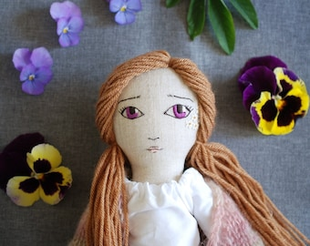 Hanolky handmade heirloom doll. OOAK cloth doll embroidered by hand.