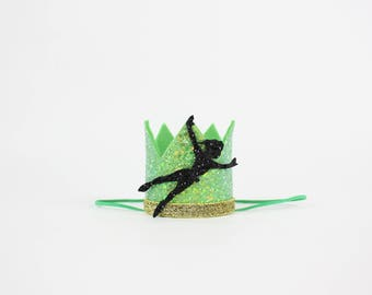 Peter Pan Birthday Crown | Neverland Never Grow Up Birthday Party Decor | First Birthday Crown | Peter Pan Party Hat | Green Gold Black