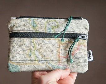 wallet men / world map wallet / coin purse / vegan zipper pouch  / travel essential