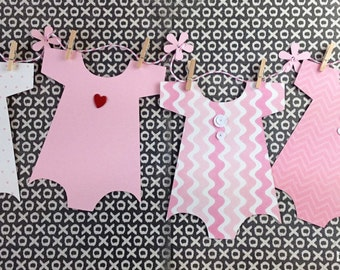 KIT Baby Shower Banner, Onesie Banner, Baby Shower Decoration,Baby Girl Onesie, Nursery Decoration, Shower Decor, Baby Shower Onesie Garland