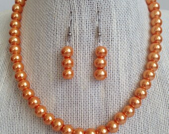 Orange Pearl Necklace, Bridesmaid Jewelry, Fall Wedding Jewelry, Orange Wedding, Bridesmaid Gift, Tangerine Necklace, Orange Bead Jewelry