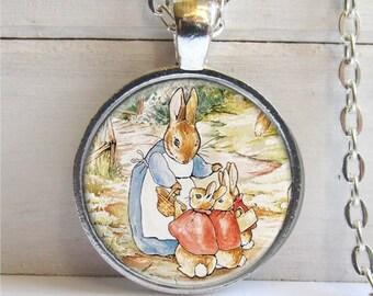 Peter Rabbit Pendant, Bunny Family Pendant, Bunny Necklace