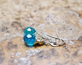 Teal Earrings, Silver Wire Wrap Jewelry, Tear Drop Briolettes, Serene Ocean Blue Green Handmade Lotus and Bliss Jewelry