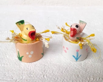 2 Vintage Easter Ornaments or Spring Decorations , Tiny Birds in Nest Baskets, Hand Painted Wood Easter Ornaments, Vintage Easter Decoration