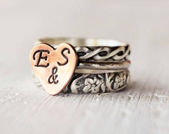 Couples Initials in a Heart Stacking Rings, Hand Stamped Rings, Monogram Ring, Personalized Ring, Mothers Day Gift, Girlfriend Gift