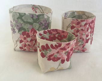 Fabric Storage Baskets - Makeup Storage - Nest of 3 Storage Baskets - Storage Bins - Bathroom Storage - Girls Birthday Gift