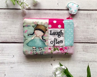Laugh often eco friendly zipper pouch, zippered wallet, coin pouch, inspirational pouch