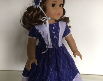 1850's Dress With Hat Fits American Girl Dolls