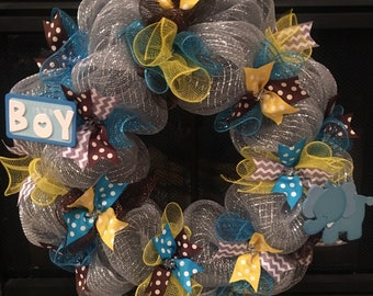 Welcome Baby Boy Wreath...  Perfect for a nursery or a front door to welcome mom and baby home