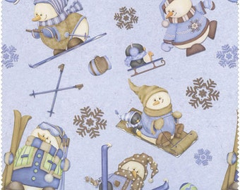 Snow Much Fun  Cotton Flannel Fabric Shelly Comiskey Snowmen on periwinkle   F5898-11