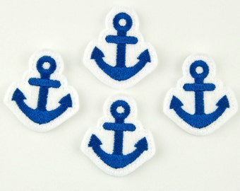 ANCHOR - Embroidered Felt Embellishments / Appliques - White & Navy Blue (Qnty of 4) SCF7280