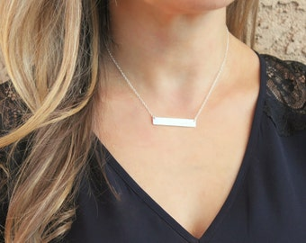 Silver Necklace, Long Silver Bar Necklace, Custom Name Necklace, Personalized Necklace, Personalized jewelry, Gift for Her, Bridesmaids Gift