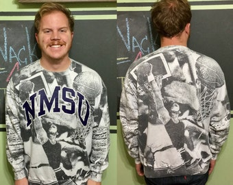 Vintage New Mexico State University NMSU Basketball All Over Double Sided 1980s Artex Size XL Crew Neck Sweatshirt