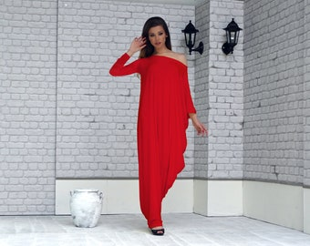 Red Kaftan Dress, Red Maxi Dress, Plus Size Clothes, Asymmetrical dress, Kaftan Maxi Dress, Plus Size Dress, Oversize Loose Dress