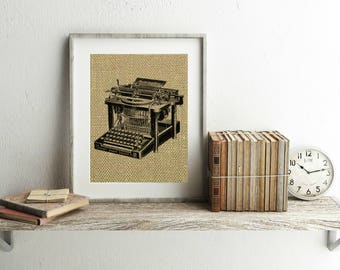 Antique Typewriter Print - Burlap Print - Vintage Typewriter Wall Art - Gifts For Writers - Office Decor - Office Wall Decor - Typewriter