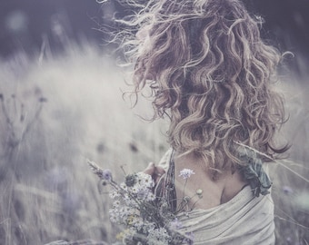 """Postcard fine art photography - """"The girl with wild flowers"""""""