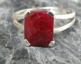 Ruby Ring, Ruby Engagement Ring, Split Shank Ring, Sterling Silver Ring, Emerald Cut Ring, Genuine Ruby Jewelry - MADE TO ORDER
