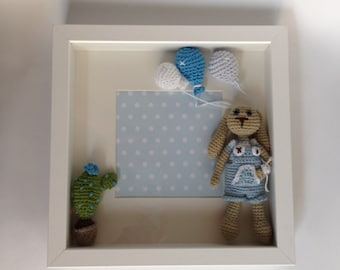 Child box blue bunny. Newborn gifts .for give