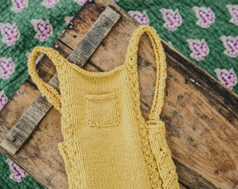 Knit baby romper - knit baby overalls - knit photography props - cable knit romper - cable knit overalls - baby knits - sitter suits