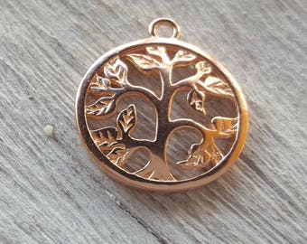Rose gold tree of life charm rose gold plated solid silver 925 tree pendant tree of life charm