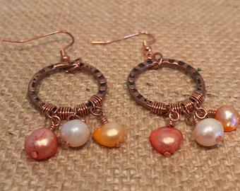 Pearl and copper dangle earrings