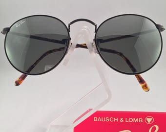Vintage Ray Ban Bausch And Lomb Black Silver G31 Mirror Tortoise Round 52mm Sunglasses