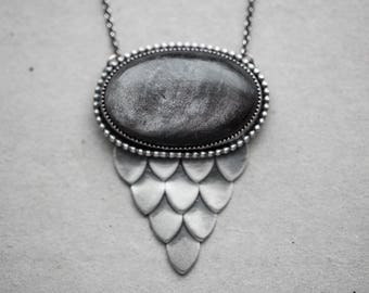 READY TO SHIP - dragon scale necklace. smooth natural silver sheen obsidian gemstone. dragonscale accent. beaded border