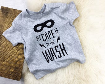 My cape is in the wash child/ baby tshirt, superhero shirt, superhero shirt, baby boy shirt, baby boy superhero, baby boy clothes, baby boy