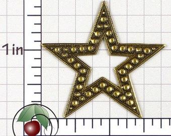 Beaded Edge Star, Star Finding, Star Stamping, Star Embellishment, Star Decoration, Antiqued Brass, Brass Ox, 2 Pcs, 1439bo2