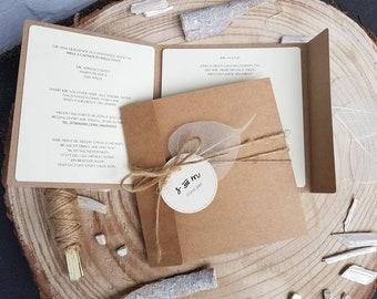 Invitations de mariage mat de 056, invitation au mariage, carte d'invitation de mariage kraft papier avec un cordon. Impression et enveloppe comprises