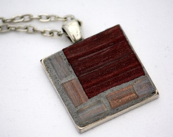Dark Red and Grey Mosaic Pendant with Silver-Finish Chain