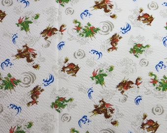 Japanese Textured Cotton Fabric - Dragons on White