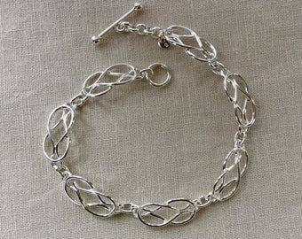 Sterling Silver Love Knot Link Bracelet