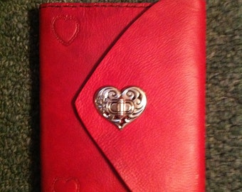 Red Leather refillable journal with heart accents
