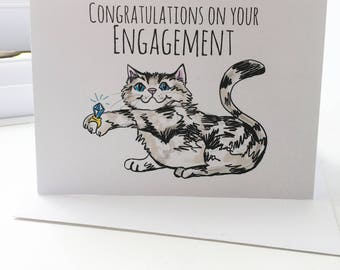 Congratulations on your Engagement Cat One Blank Original Greeting Card Size A6