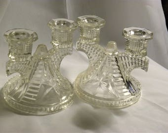 EAPG (Early American Pressed Glass) Vintage Glass Candle Holders