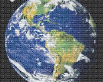 Cross Stitch Chart, Earth Cross Stitch Pattern PDF, Space Cross Stitch, Planet Cross Stitch, Embroidery Chart