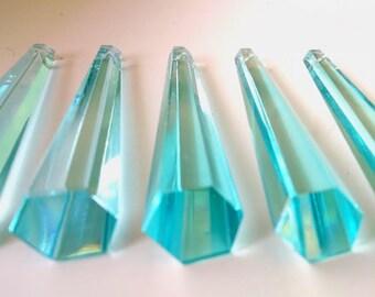 5 Light Aqua 76mm Drops Chandelier Crystals Pendant Prism