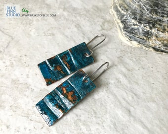 Blue patina earrings, copper patina jewelry metal earrings, rustic rectangle dark patina jewelry geometric, primitive handmade