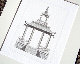 Sepia Pagoda Style 2 Garden Gazebo Antique Illustration Archival Print